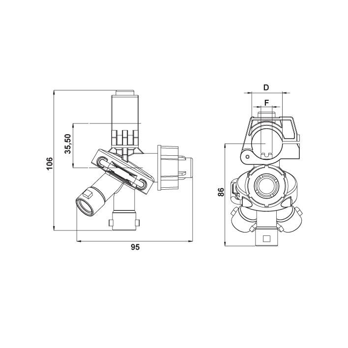 3 Way Nozzle Holder With Diaphragm Check Valve Revolver